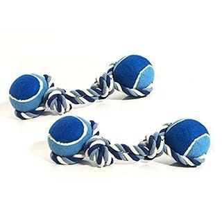 ASC–Twin Pack–Oversized Seil und Ball Hund kauen/Tug Toy–Groß 40cm–blau