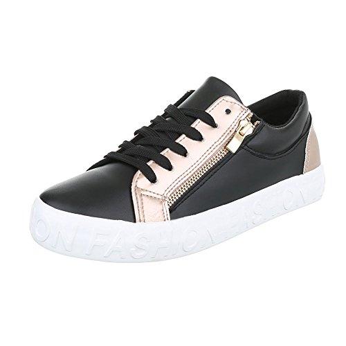 cafcb6d63edd63 LowTop Sneaker Damenschuhe LowTop Sneakers Schnürsenkel ItalDesign  Freizeitschuhe Schwarz Gold