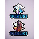 3D blue / chrome SUZUKI stickers decals adhesivo #2 - set de 2 pieces