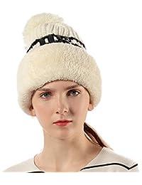 Cappello Passamontagna Donna Bambina Lana in Maglia Invernali - Berretto 3  in 1 Balaclava Maschera Knit con Pompon Antivento Caldo 4d1243774d9e