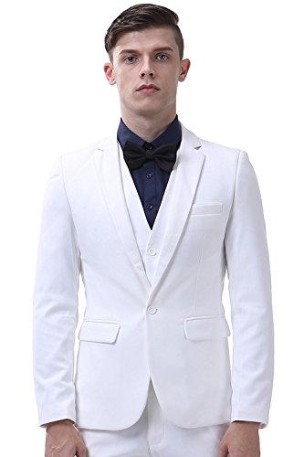 INFLATION Klassisch Slim Fit Schnitt Herren 3-Teilig Anzüge Anzugsuit Men's Suit Reine Farbe Casual Sakko Anzüge Smokings Anzugjacke+Weste+Anzughose 10 Farben verfügbar,Weiß,XL (Weiss Anzug Herren)