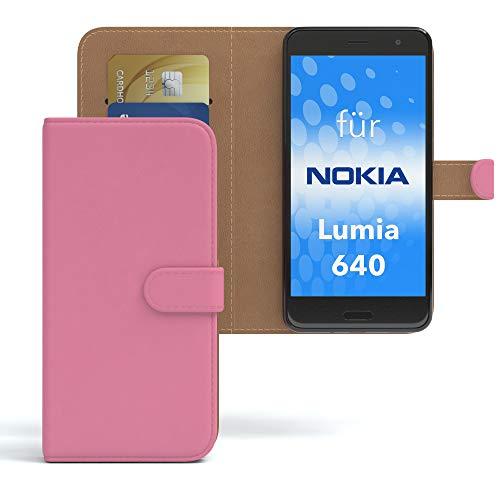 EAZY CASE Hülle für Nokia Lumia 640 Dual SIM Bookstyle mit Standfunktion, Book-Style Case aufklappbar, Schutzhülle, Flipcase, Flipstyle, Flipcover mit 2 Kartenfächern aus Kunstleder, Rosa
