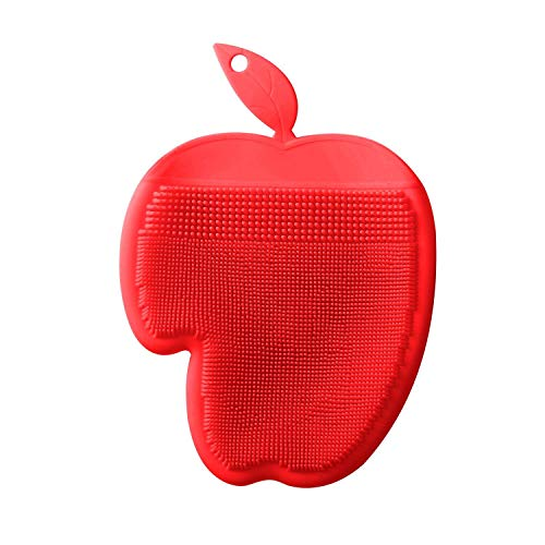 E-CHENG Antibacterial Non-Skid Silicone Dish Sponge Scrubber Brush Food-Grade Multi-Purpose Cleaning Glove with Suction Cup for Kitchen Wash Pot Pan Dish Bowl Fruit and Vegetable (Red) -