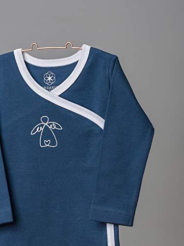 Organic by Feldman Unisex Baby Body Langarm Wickelbody aus Bio Baumwolle, GOTS Zertifiziert, Schutzengel Ozeanblau, (50/56) - 3