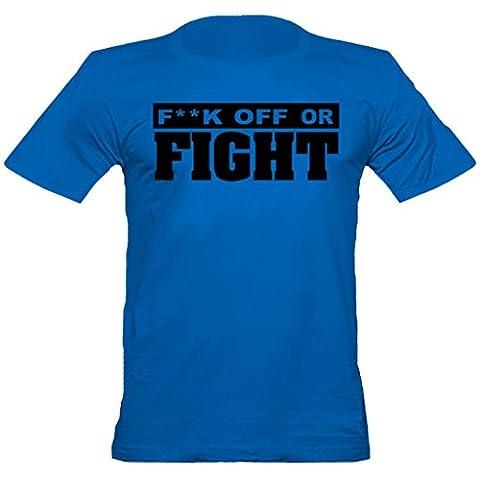 """Urban ShaolinFighter """"Fuck off oder Kampf"""" angepasstes T-Shirt, Xtra Xtra Large, Blau"""
