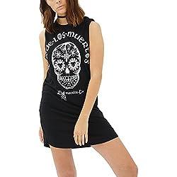 trueprodigy Casual Mujer Marca Camiseta De Tirantes Estampado Ropa Retro Vintage Rock Vestir Moda Cuello Redondo Sin Manga Slim Fit Designer Cool Urban Fashion Top Color Negro 1282507-2999-M