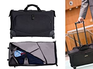 Cabin Sized Wheeled Crease Free Garment Bag With Zip-off Laptop Bag from GATE8