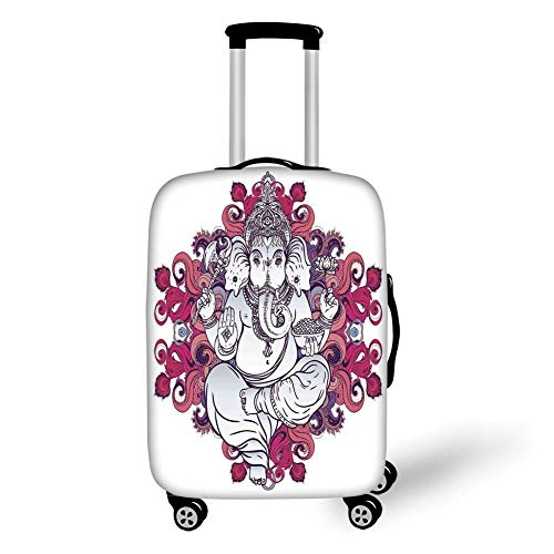 Travel Luggage Cover Suitcase Protector,Elephant,Elephant Figure Over Floral Colorful Mandala Pattern Eastern Faith Symbol Print Decorative,Pink Grey,for Travel XL - Pink Plaid Protector