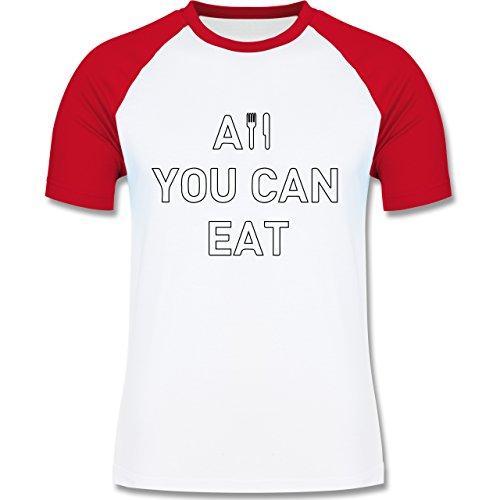 Küche - All you can eat - zweifarbiges Baseballshirt für Männer Weiß/Rot