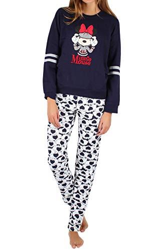 Disney Pijama Manga Larga Felpa Minnie Heads para Mujer, Color Azul, Talla XL
