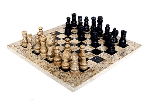 Radicaln Handmade Fossil Coral and Black Marble Full Chess Game Original Marble Chess Set Handgemachte Fossil Coral und Black Marble Full Schachspiel Original Marble Schachspiel (Chess Set Black)