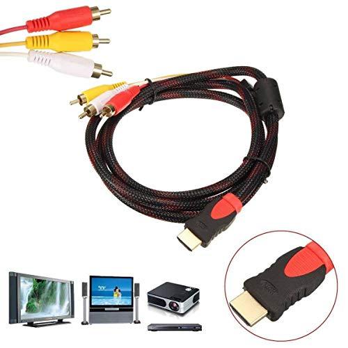 PeiXuan2019 1,5 M HDMI-Stecker auf 3 Cinch-Video-Audio-AV-Kabeladapter für 1080P HDTV DVD Hdtv Dvd