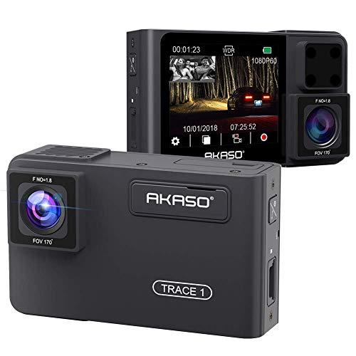 AKASO Dual DashCam 1080P 60FPS FHD Autokamera mit Rückkamera, Uber Frontkamera und Heckkamera, 340° Weitwinkel, Dual Aufnahme 1080P, Infrarot-Nachtsicht, Parkmodus, G-Sensor (Trace 1) Dual Dash