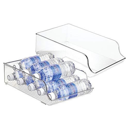 mDesign Juego de 2 botelleros para nevera para 9 unidades cada uno – Estante para botellas de vino y agua – Cajón de plástico para armarios de cocina y encimera – transparente