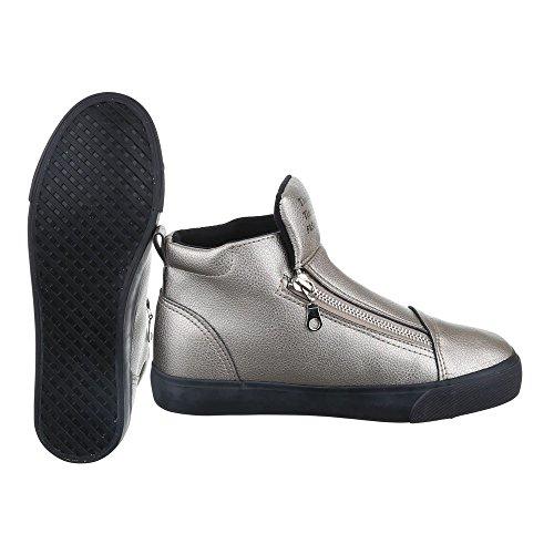 High-Top Sneaker Damen Schuhe High-Top Sneakers Reißverschluss Ital-Design Freizeitschuhe Silber Grau