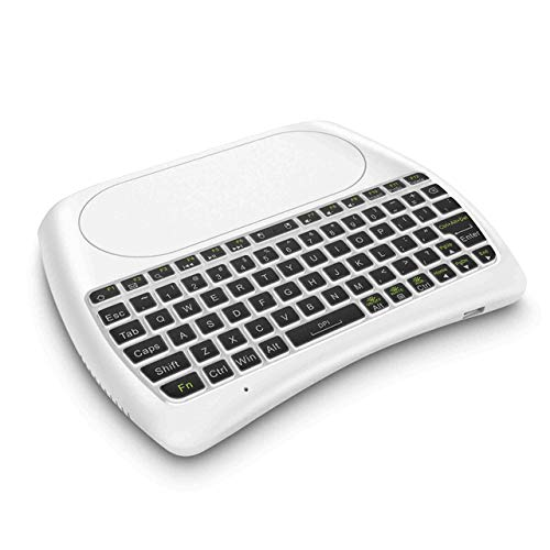Mini D8-S 2.4G RGB Wireless Tastatur mit Touchpad Hintergrundbeleuchtung Fly Air Mouse USB Fernbedienung für Laptop Mini PC Android TV Box,White - White-box-laptops