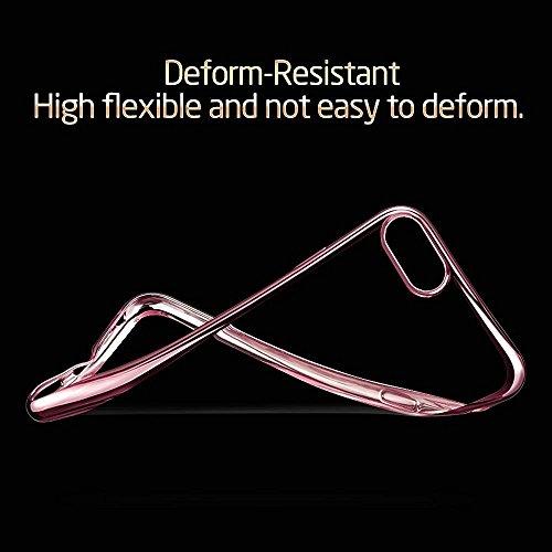 "iPhone 7 Hüllen, Durchsichtig Klar CLTPY iPhone 7 Ultradünn Flexible Überzug TPU Schale Etui, Antirutsch Full Body Cover für 4.7"" Apple iPhone 7 + 1 x Stift - Gold D Rose Gold"