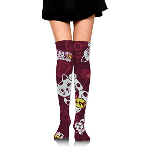 Jxrodekz Knee High Socks Lucky Cat Long Socks Boot Stocking Compression Socks for Women