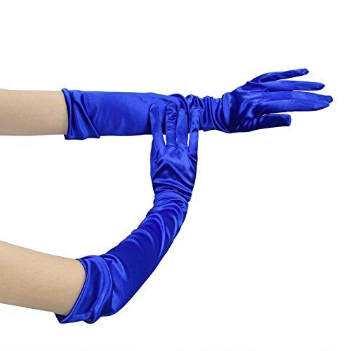 FakeFace Opernlänge Fingerspitzen Handschuh Elastischer Satin Brauthandschuhe Party Abendhandschuhe handschuhe Winter Frühling Sommer Blau