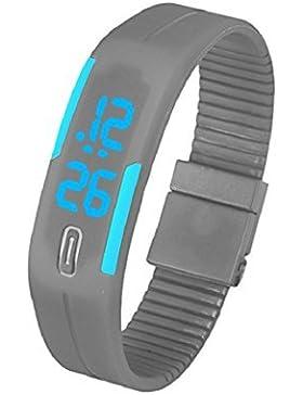 Sannysis Unisex Gummi blaue LED Sports Armband-Digital-Armbanduhr
