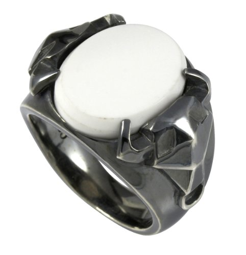 caï men Herren-Ring 925 Sterlingsilber vintage-oxidized Achat weiß Gr. 65 (20.7) C4002R/90/44/65