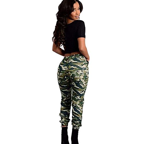 Minni Rossa Ladies Womens Army camo Print Stretch Jogger Cuffed Bottom Pocket Trouser Elasticated Waist Plus Size