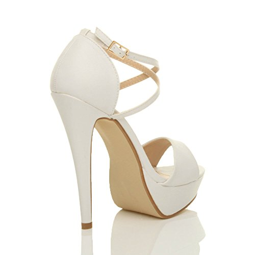 Femmes talons hauts bout ouvert lanières croisées sandales plateforme pointure Blanc mat