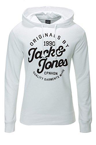 Jack & Jones Herren Hoodie Kapuzenpullover Sweatshirt (L, White)
