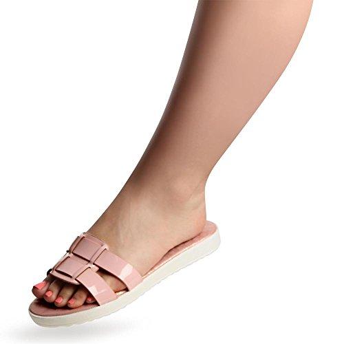 topschuhe24 850 Damen Plateau Sandalen Pantoletten Rosa