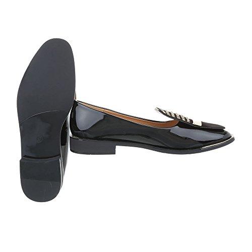 Ital-design Femmes Chaussures Mocassins Black Slipper Block Heel