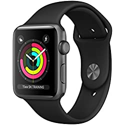 Apple Watch Series 3, 42 mm, GPS, Aluminium Gehäuse, Space Grau mit Sport-Armband, Schwarz, 2017 Apple Watch