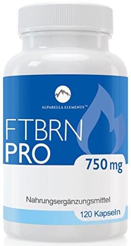 Alparella Elements - FTBRN PRO | pflanzliche Wirkstoffe - Grüner Kaffee, Grüner Tee, Guarana Extrakt, Vitamine B2, B3 und B6 | 120 Kapseln hochdosiert | für Männer & Frauen | MADE IN GERMANY