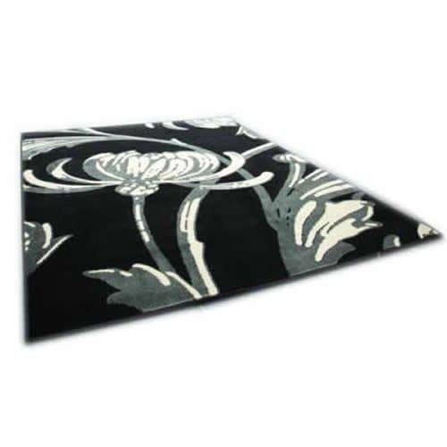 Loretta Teppich-schwarz & grau-Klassisch Floral Design-Retro Style-160x 225cm - Schwarz Floral-teppich