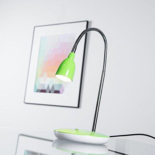 Moderne 3W LED Tischleuchte, Schreibtischleuchte, mit Flexgelenk, 200 Lumen, 3000K warmweiß, Metall / Kunststoff, eisen / grün