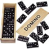 6 Stück Holz Domino Spiele in Natur Holzbox, Familienspiel, Gesellschaftsspiel