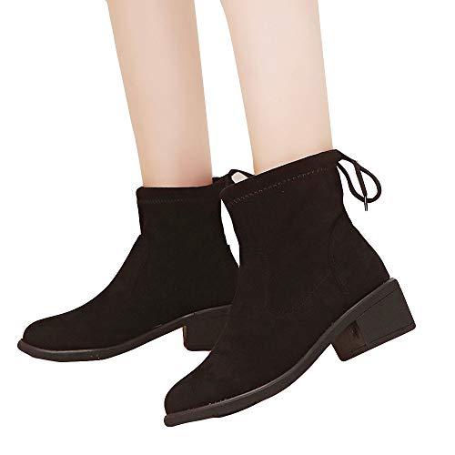 Tatis Shoes Glatte Schnürstiefeletten aus Wildleder Frauen-Veloursleder-Mode-Runde Zehe-Keil-Schuhe halten warme Beleg-Aufschnee-Aufladungs-Schuhen Lässig einfache Mode wild
