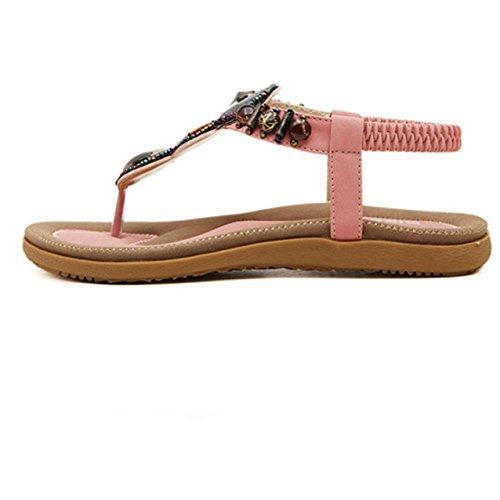 LHWY Damen Sweet Beaded Clip Toe Wohnungen Böhmische Herringbone Sandalen Pink