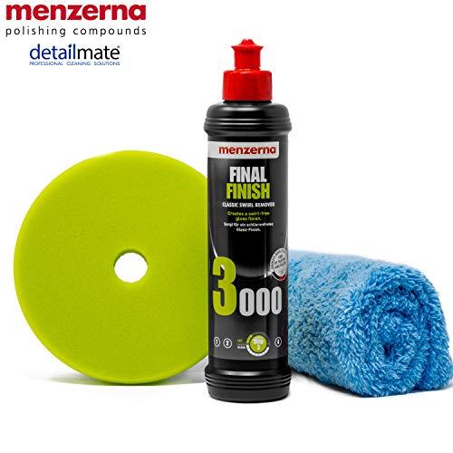 """detailmate Menzerna Autopolitur Set: 3000er Körnung, 250 ml mit passendem Polier Pad: Soft Cut Foam 150 mm / 6.0\"""" + Flauschiges Mikrofaser Poliertuch 40x40 cm, 450 GSM"""