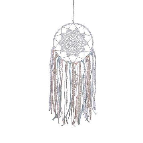 Providethebest Weiße Spitze-Blumen-Traumfänger Wind Chimes Anhänger Traumfänger-Hauptwand Hängende Dekoration Craft