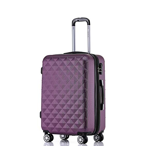 BEIBYE Zwillingsrollen 2066 Hartschale Trolley Koffer Reisekoffer Gepäck M-L-XL-Set (Lila, L)