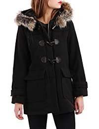 La Modeuse - Duffle-Coat Femme doté d une Capuche Amovible en Fausse  Fourrure ece4493b5c5
