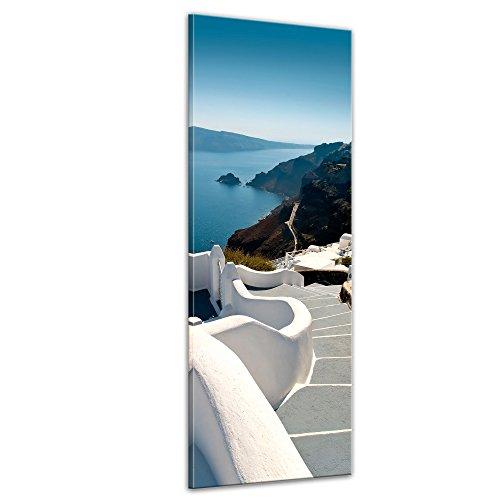 Kunstdruck - Santorini Treppe - Griechenland - Bild auf Leinwand - 40 x 120 cm - Leinwandbilder - Bilder als Leinwanddruck - Wandbild von Bilderdepot24 - Urlaub, Sonne & Meer - Europa - Mittelmeer
