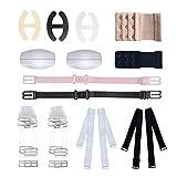 BH-Strap-Halter, BH-Zubehör-Set von 12 für Frau Mädchen mit verstellbaren BH unsichtbare Straps BH-Clips und Extender Schulterpolster Multi Style Set