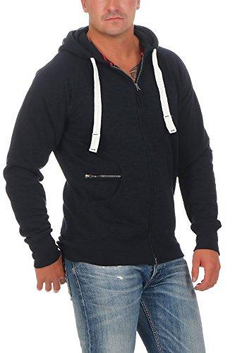 Happy Clothing Herren Kapuzenjacke mit Zip, Dunkelblau, 3XL