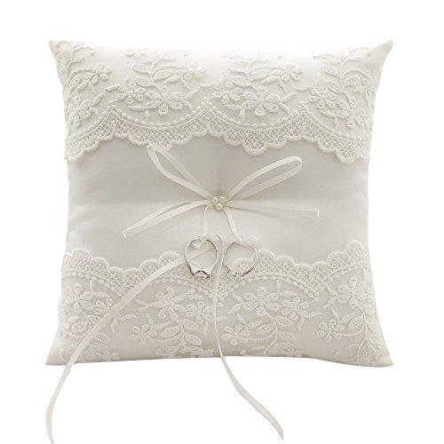 Awtlife - Coussin porte-alliance en dentelle avec des perles couleur ivoire pour mariage de 21 cm