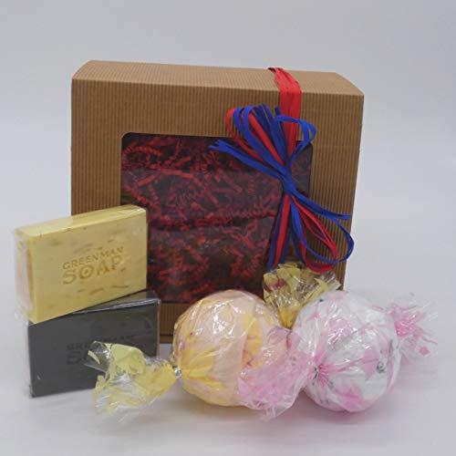 Geschenkset für Frauen 7 & Mädchen mit Greenman Seifen und Tropische Kokos-Paradiesbadebomben, 4-teiliges Pflegeset zum Waschen und Bad, 560gr -