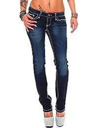 Cipo & Baxx Damen Jeans Hose Hüftjeans Skinny Regular Fit Stretch Dicke Naht