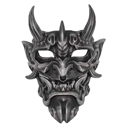 QWEASZER Japanische rote Hannya Maske Halloween Horror Teufel Cosplay Maske Buddhismus Prajna Ghost traditionelles Thema Party Harz Maske Kunsthandwerk Handwerk hängende Verzierung,Black-Hannya (Japanische Themen Kostüm Party)