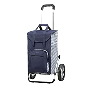 Andersen, Caddie de courses - Chariot de courses Royal Dante bleu, volume 45L, roues à rayons métalliques, garantie 3 ans, Made in Germany