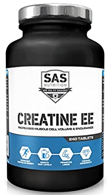 SAS Nutrition Creatine Ethyl Ester 240 Tabs - CEE will Increase Muscle Cell Volume - Strength and Endurance, Rapid Recovery